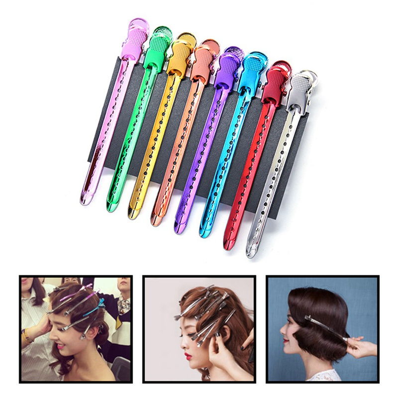 12Pcs/Set Metal Alligator Hair Clip Hairdressing Clamp Hairpins DIY Barber Pro Salon Hair Styling Tools