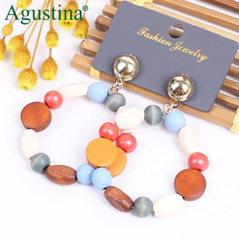 Agustina 2020 Wooden Earrings African Women Drop Earrings Fashion Jewelry Dangle Earrings Cute Earring Boho Earings Wholesale