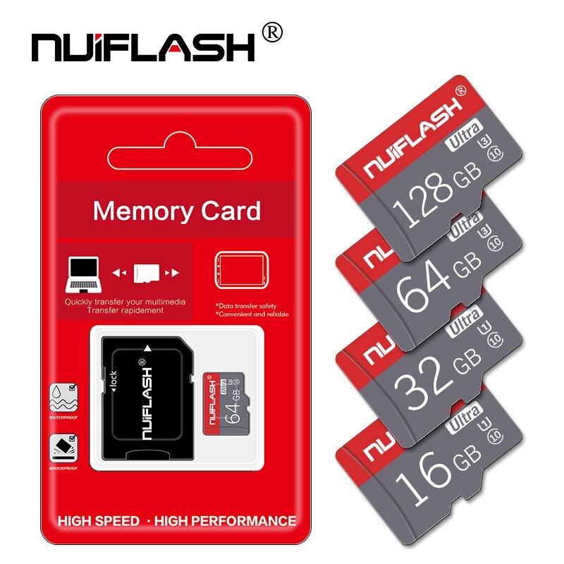Nuiflash 100% Оригинальный Micro SD карты V30 UHS-I высокое Скорость 100 МБ/с. TF Card 64 Гб 128 Гб карта памяти для телефонов и планшетных компьютеров