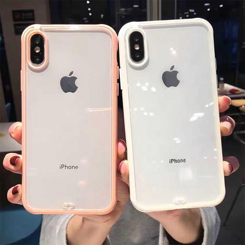 耐震バンパー透明シリコーン電話ケース iphone 11 2019 X XS XR XS 最大 8 7 6 6S プラスクリア保護バックカバー