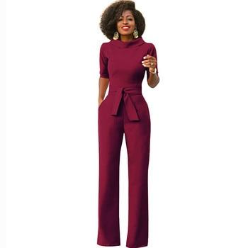 Elegant Office Work Wear Business Formal Jumpsuits 2018 Women Half Sleeve Pockets Wide Leg Pants Romper Fashion Overalls Sashes 1