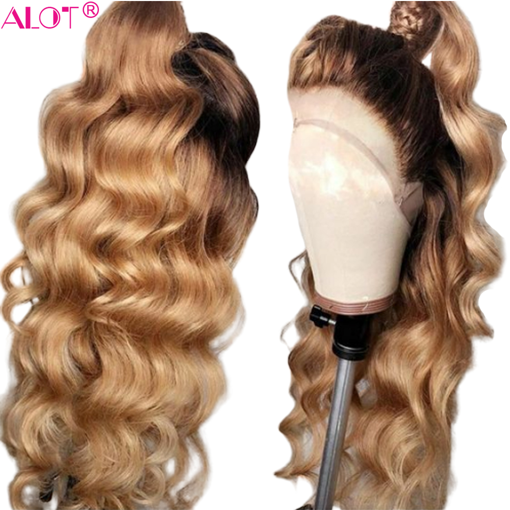 4/27 Honey Blonde Lace Front Human Hair Wigs 150% Glueless Brazilian Body Wave Remy Ombre 13x4 Lace Front Wig Pre Plucked Alot