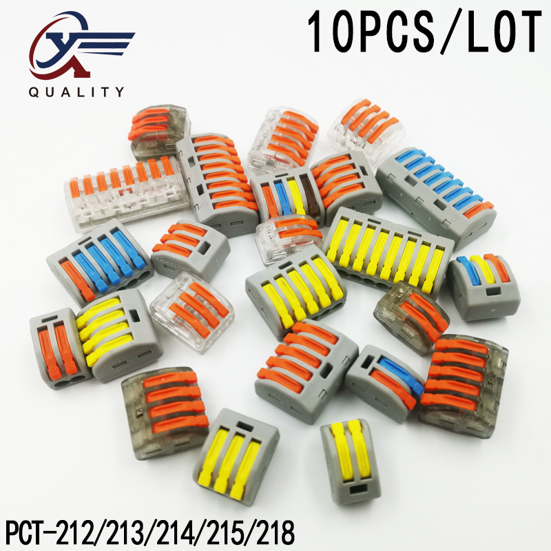 (10pcs/lot) PCT-212/213/214/215 Universal Compact Wire Wiring Connector 2/3/4/5/8 pin Conductor Terminal Block Lever 0.08-2.5mm2