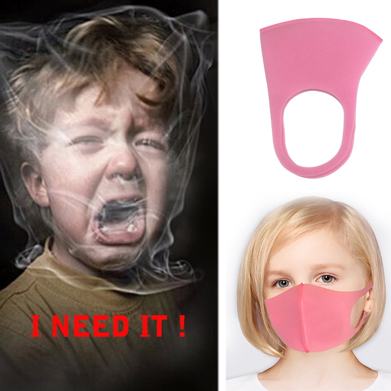 Washable Childrens Mask Anti Dust Mouth Face Cover Mask Kids Pink V Anti Pollen Wind Girls Boys Solid Face Masks Breathable