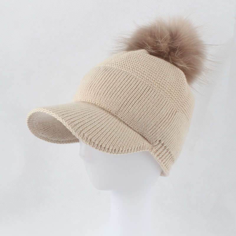 Winter Women 39 s Hats Real Fur Pom Pom Hip Hop Cap Knitting Warm cap female Skullies Beanie Soft cap With Fur Ball Fashion 2019 in Women 39 s Visors from Apparel Accessories