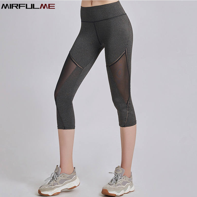 Summer Women Sport Leggings Cropped Yoga Pant Elastic Mesh Capris Quick Dry Running Crop Trousers Female Gym Pant Fitness Tights