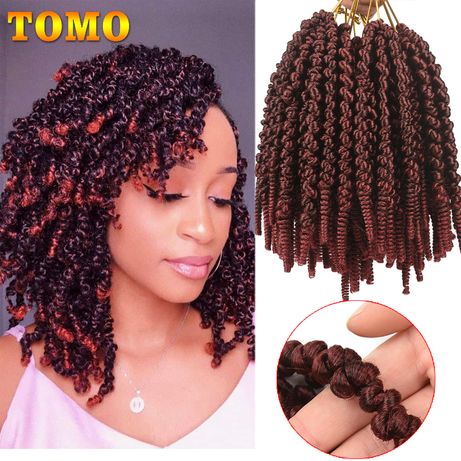TOMO Ombre Spring Twist Crochet Hair 15 Strands Crochet Braids Bomb Twist for Black Women 8 Inch Synthetic Hair Extensions