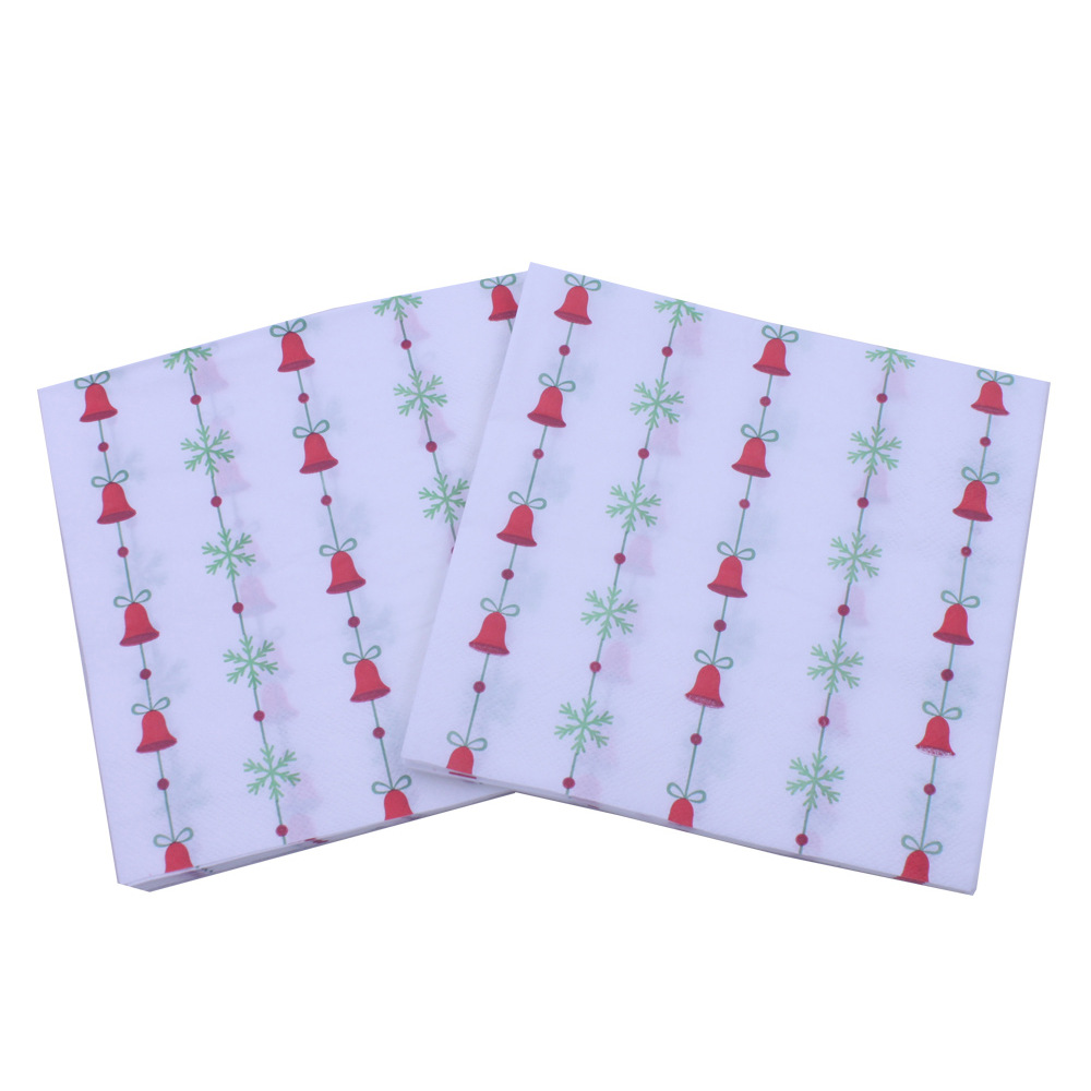 [] Multi-color Printed Napkin Christmas Bell Christmas Party Bar Decorative Paper Hot Selling
