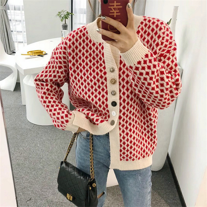 O- Neck Retro Plaid Button Cardigan Coat Sweater Female 2019 New Spring Korean Version Of The Net Red Wild Sweater