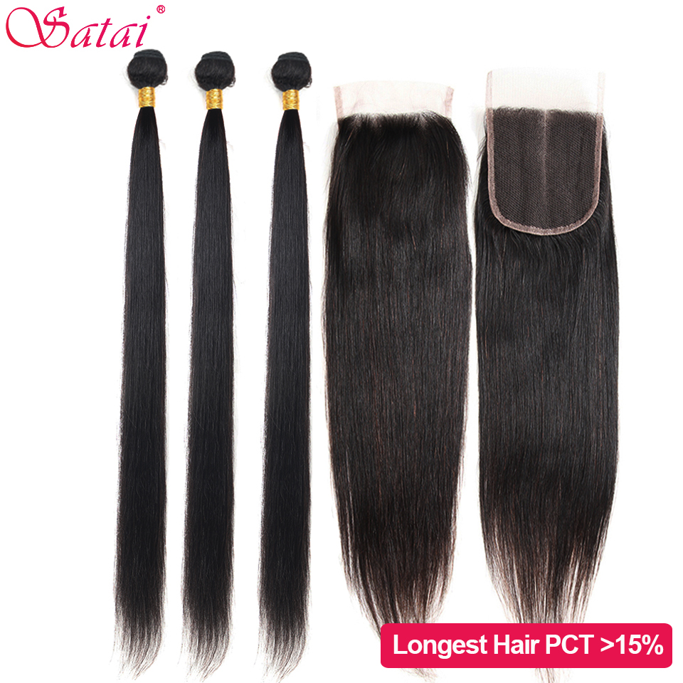 Satai Straight Human Hair 3 Bundles With Closure 8-40 Inch M Remy Hair Peruvian Hair Bundles With Closure No Shedding