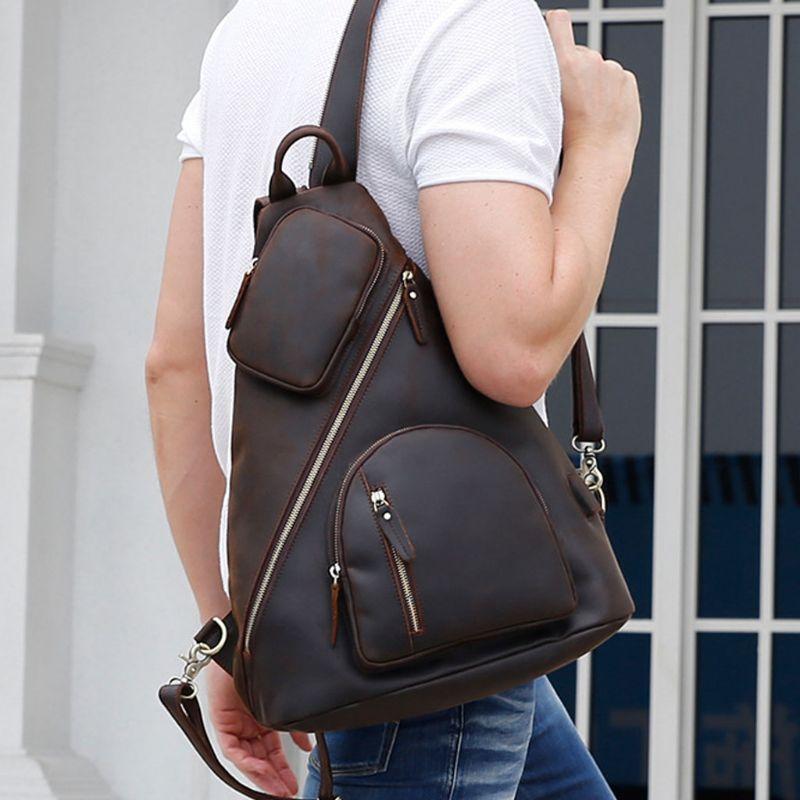 2019 модная Мужская винтажная сумка через плечо, нагрудный рюкзак, зарядка через usb, для путешествий, спорта