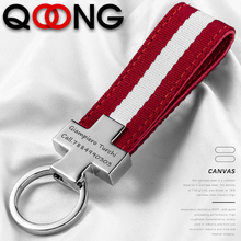 QOONG Custom Lettering Tricolor Stripe Canvas Rope Car Keychain Key Chains Holder Hanging Rings Keyring Bag Gifts For Men