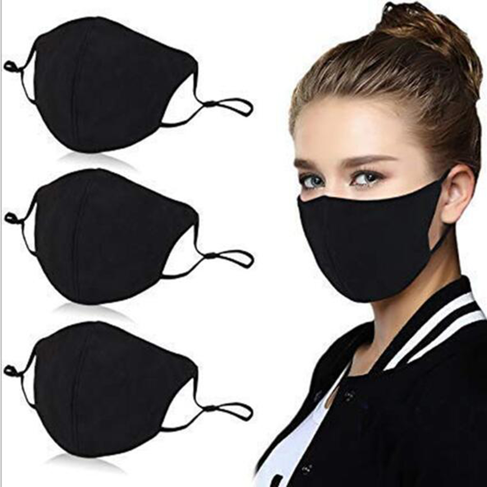 Fashion Black Mouth Mask Unisex Cotton Breath Valve PM2.5 Anti-Dust Mouth Mask With Filter Mouth-muffle Adjustable Face Masks