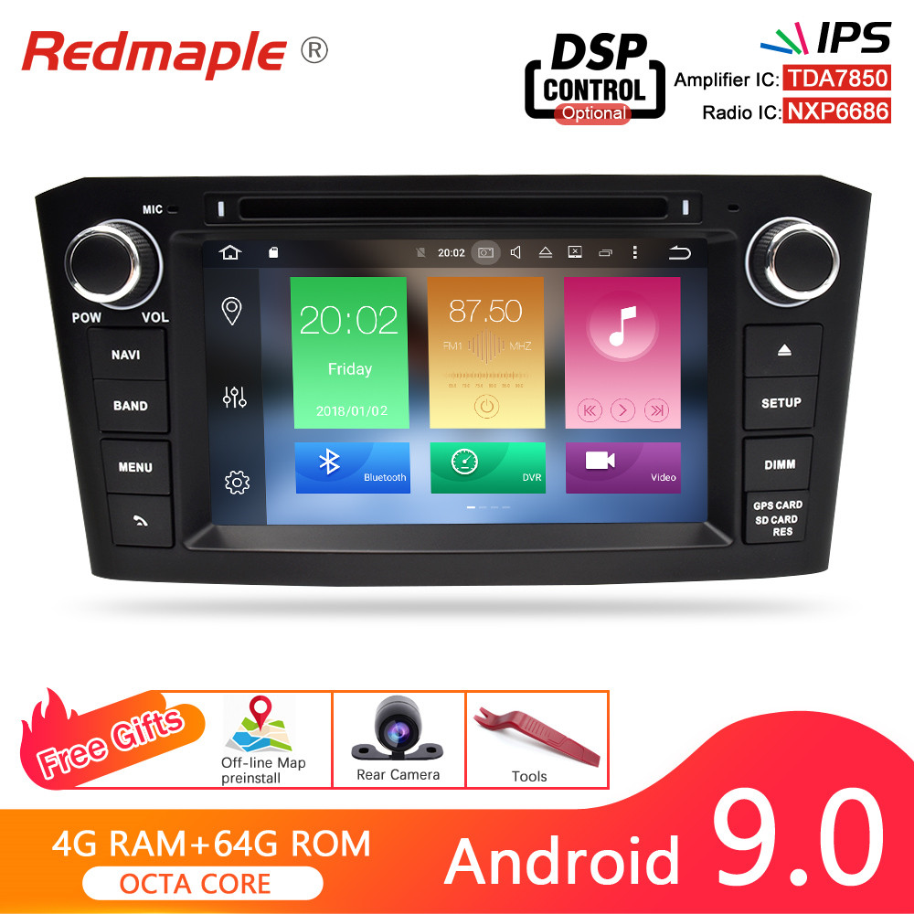 <font><b>Android</b></font> 9.0 Car DVD player Radio Multimedia Stereo For <font><b>Toyota</b></font> Avensis <font><b>T25</b></font> 2003-2008 Auto Audio Radio WIFI Bluetooth Navigation image