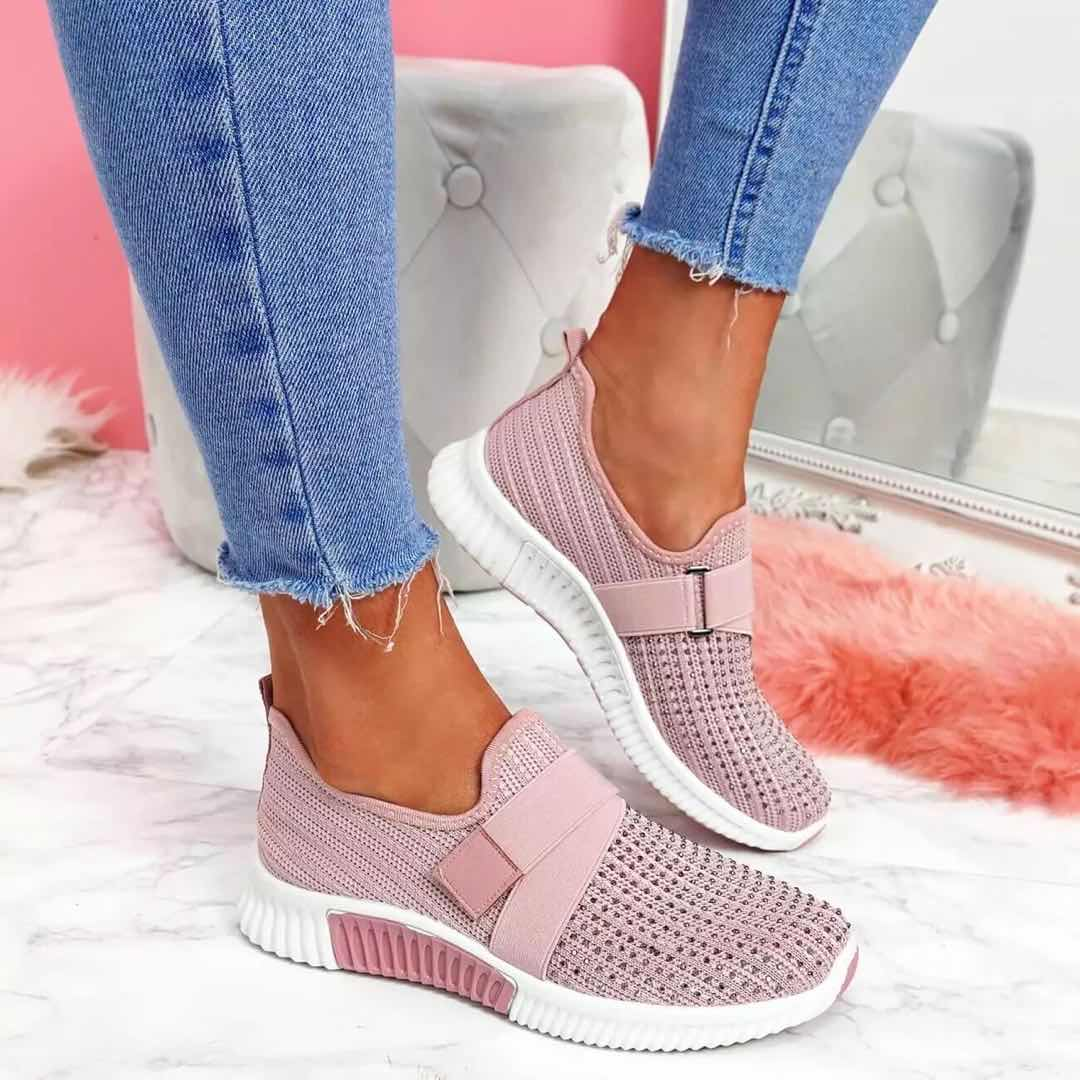 Women Casual Shoes Spring Female Shoes Crystal Solid Mesh Sneakers Plus Size Flats Fashion Ladies Sport Shoes Vulcanized Shoes
