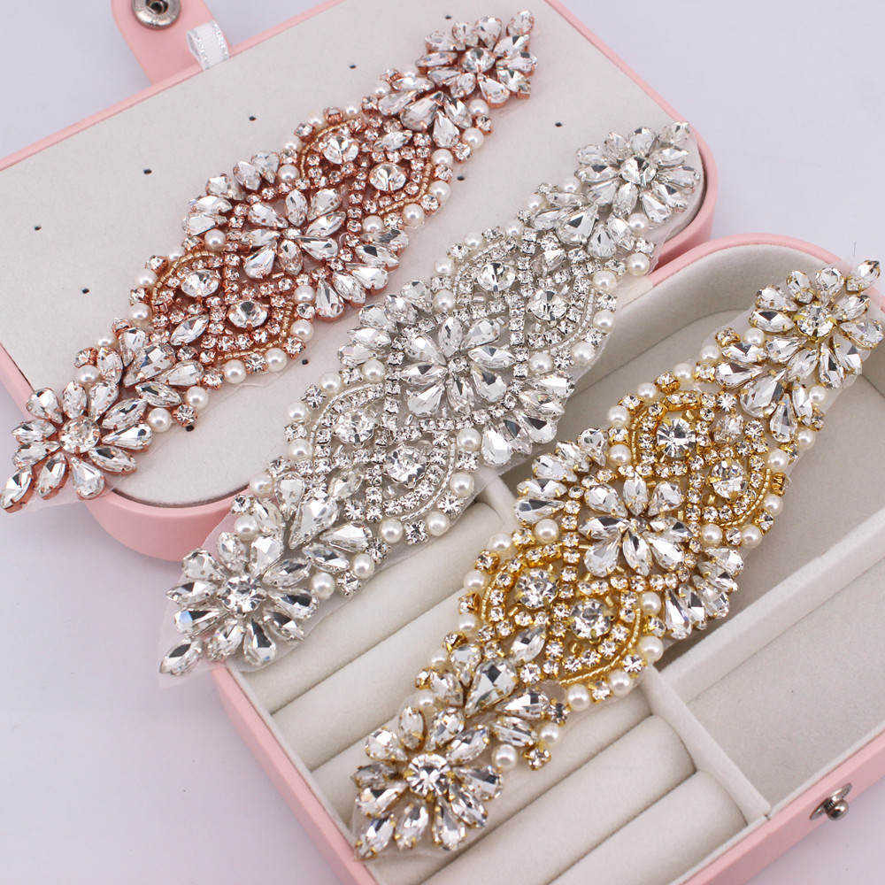 Jacket Shoes Jewelry Bridal-Accessories Wedding-Belt Appliques Rhinestone Gold for DIY