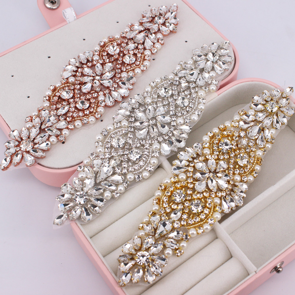 1 PCS Gold Rhinestone Appliques For Wedding Belt Shoes Jacket Jewelry DIY Sew On Rhinestone Appliques Bridal Accessories