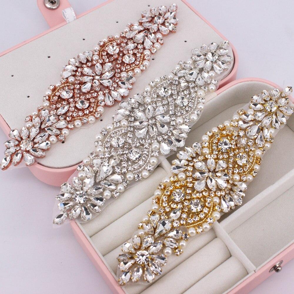 1 PCS Gold Rhinestone Appliques For Wedding Belt Shoes Jacket Jewelry DIY Sew On Rhinestone Appliques Bridal Accessories