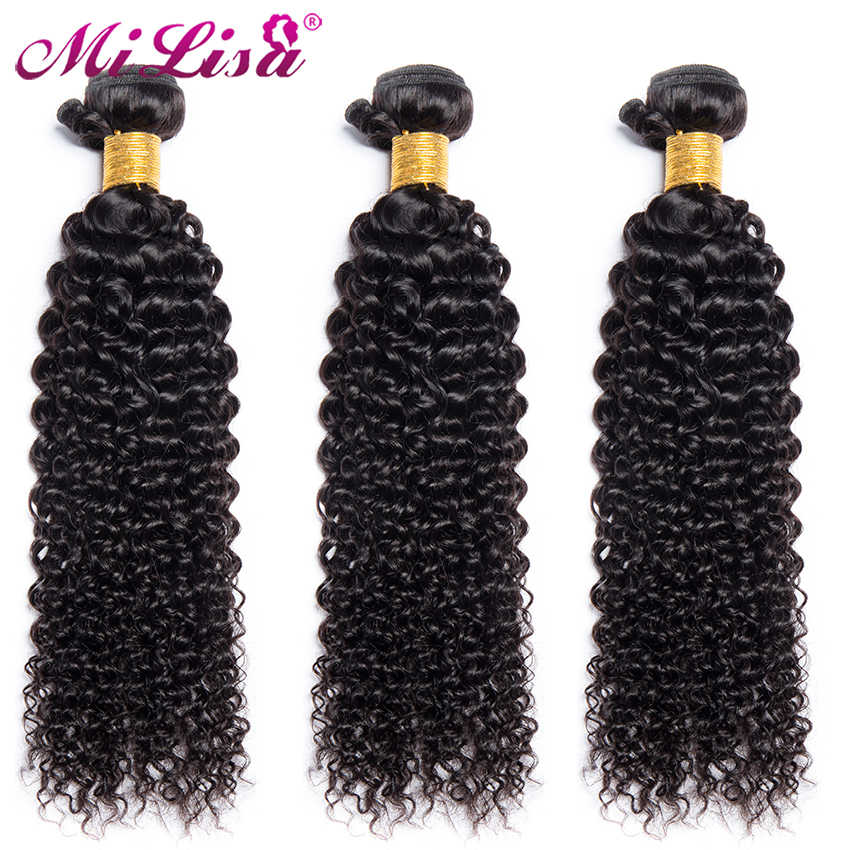 10- 30 inch Brazilian Kinky Curly Hair Bundles 3 Pieces 100% Human Hair Weave Bundle deals Remy Hair Extensions Mi Lisa Hair