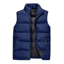 Men's Vest Autumn Winter Solid Color Sleeveless Vest Jacket Stand Collar Thick Warm Waistcoat Large Size Loose Zipper Jacket