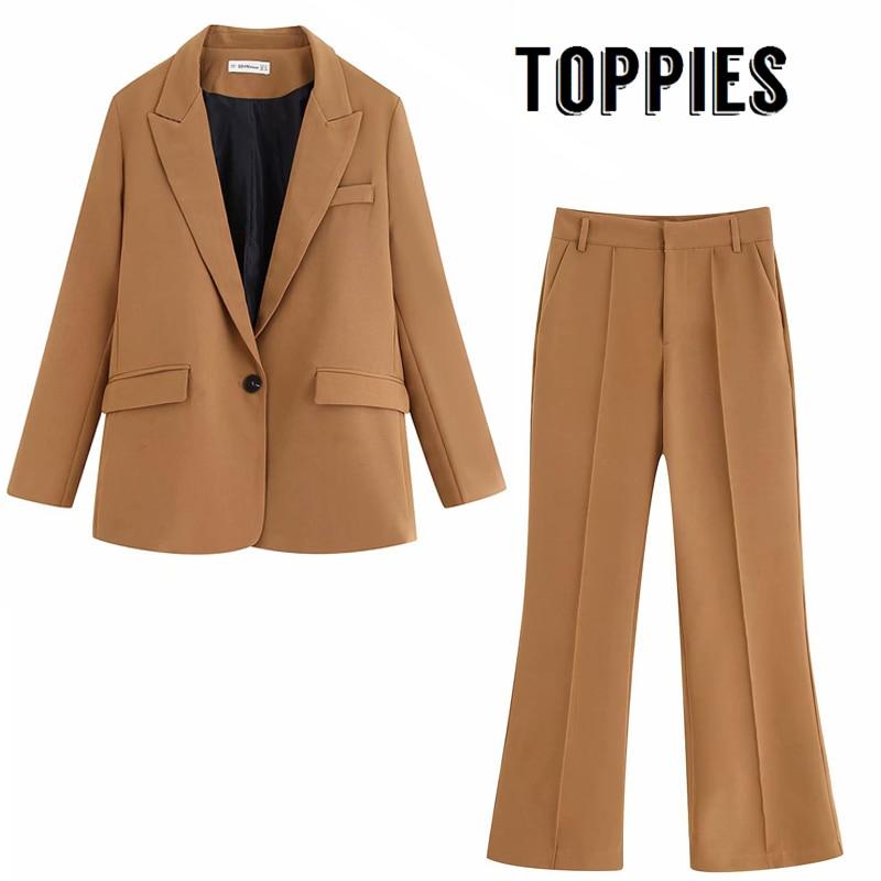 Brown Suit Set Office Two Piece Set Women Single Button Blazer Jacket High Waist Flare Pants Lady Suit Pants 2019 Autumn