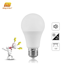 Capteur de lumière à ampoule blanche pour ampoules déclairage dintérieur, capteur sonore E27 LED, LED, 7/9W, 12W, 110/220V