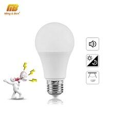 LED סאונד חיישן אור 7W 9W 12W E27 LED אינדוקציה מנורת 110V 220V לבן הנורה אור Lampada עבור מקורה תאורה Bombillas