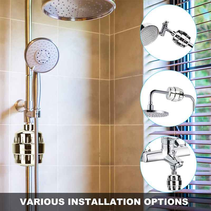 In-line bathroom Shower Filter bathing water filter purifier water treatment Health softener Chlorine Removal