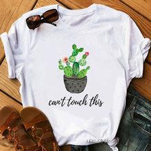 Милые футболки с буквенным принтом кактус не трогать женская