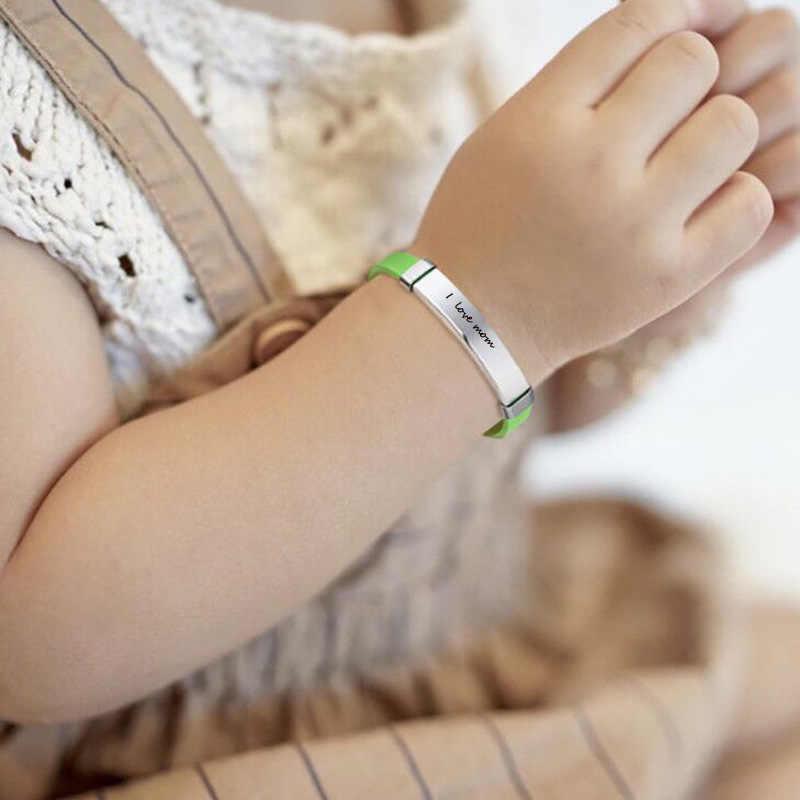 Personalizzato Bambino SOS ID Braccialetti di Silicone Gomma Marche di Nome Numero di Telefono Data Registrabile Del Bambino Personalizzato Per Il Ragazzo Dei Bambini Delle Ragazze