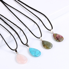 Women Natural Stone Crystal Water Drop Pendant Necklace Opal Onyx Picture Stone Charm Choker Waxed Rope Clavicle Chain Jewelry yumten grey agate necklace female natural stone power crystal coin rainbow choker charm chain reiki women vintage jewelry men