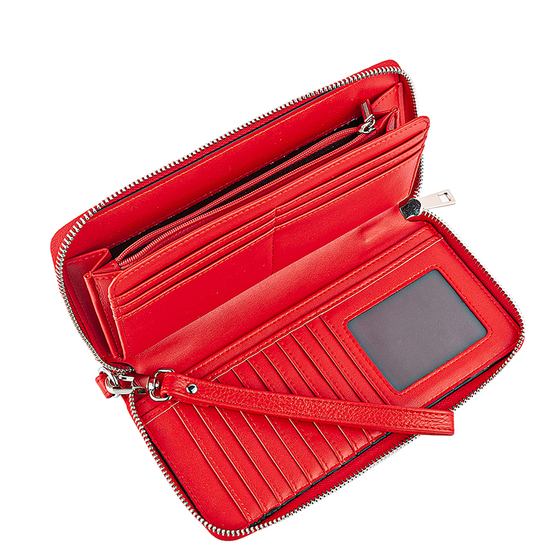 New Design Fashion Multifunctional Women's Wallet Genuine Leather Zip Around Clutch Large Travel Purse Female Long Wallet 593-50