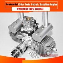 VVRC RCGF 120cc 트윈 실린더 가솔린/가솔린 엔진 RC 모델 비행기 용 머플러/점화/점화 플러그가있는 이중 실린더