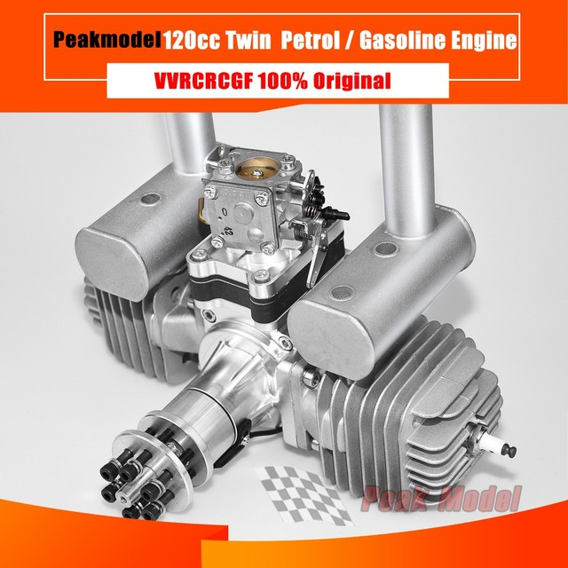 VVRC RCGF 120cc Twin Cylinder Petrol/Gasoline Engine Dual Cylinder with Muffler/Igniton/Spark Plug for RC Model Airplane
