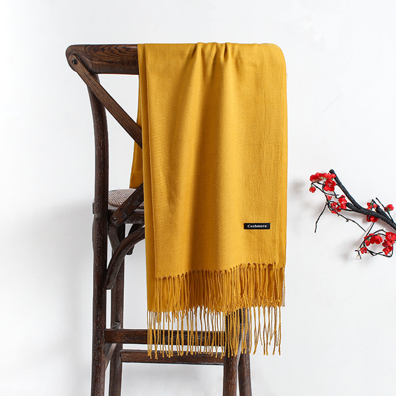 Pashmina Yellow Scarf For Women Summer Headscarf Thin Poncho Lady's Shawl Women's Tippet Female Winter Scarves Black Women Stole