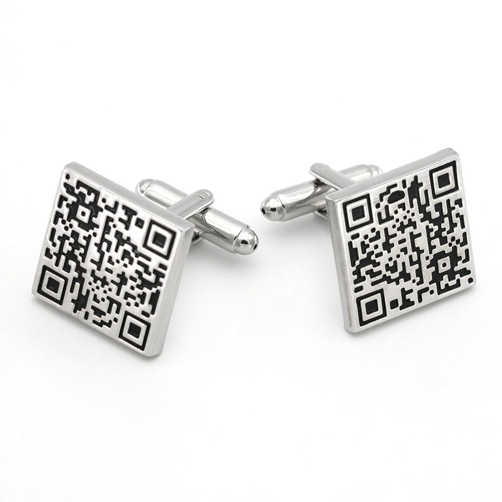 QR Code Cuff Links For Men Square Design Quality Brass Material Black Color Cufflinks Wholesale&retail