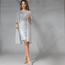 Шифоновые платья для матери невесты размера плюс, два предмета с жакетом