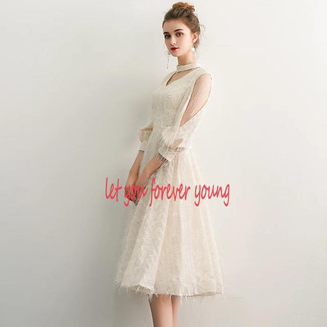 2021 New Elegant Champagne Long Evening Dresses V-Neck A-Line Floor Length Lace Prom Dresses Robe De Soiree Party Dress LYFY15 2