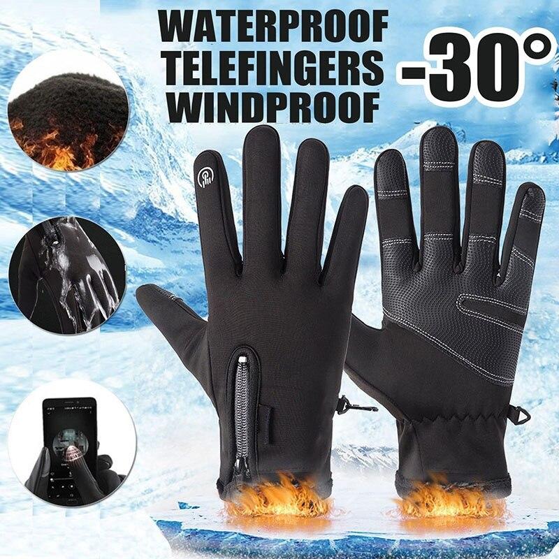 2021 Hot Winter Touch Screen Black Gloves Men Women Skiing Warm Waterproof Windproof Gloves Riding Zipper Gloves Dropshipping