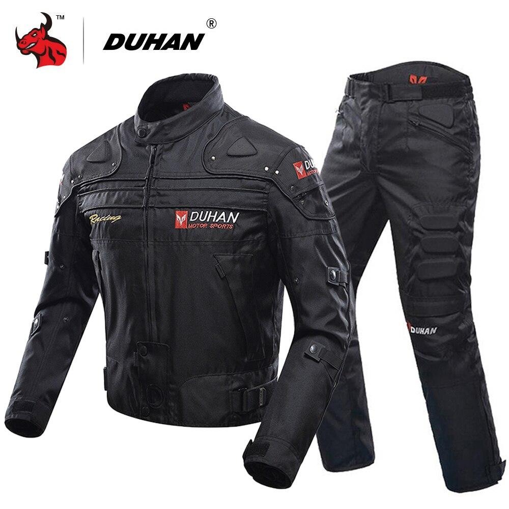 DUHAN Motorcycle Jacket Protective Gear Moto Men Motocross Off-Road Racing Jacket Body Armor+ Riding Pants Clothing Set