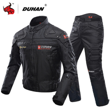 DUHAN Motorcycle Jacket Protective Gear Moto Men Motocross Off Road Racing Jacket Body Armor+ Riding Pants Clothing Set