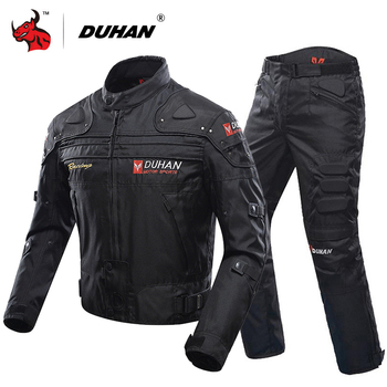 DUHAN Motorcycle Jacket Protective Gear Moto Men Motocross Off-Road Racing Jacket Body Armor+ Riding Pants Clothing Set duhan summer motorcycle jacket men breathable mesh riding moto jacket motorcycle body armor protector moto cross clothing