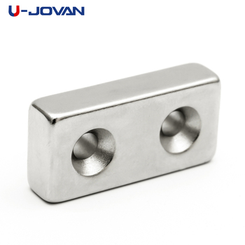U-JOVAN 1pc 40x20x10 mm Double 5mm Hole N35 Block Strong Neodymium Magnet Rare Earth Square Magnets 40*20*10-5-5 image