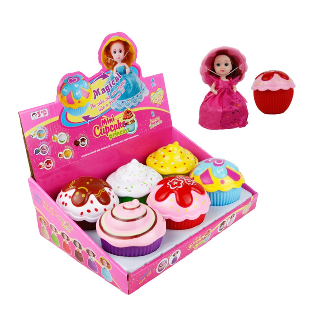 6Pcs/Set Transform Cupcake Doll With Surprise Scented Large Size Princess Dolls Fine Gift Toys For Kids