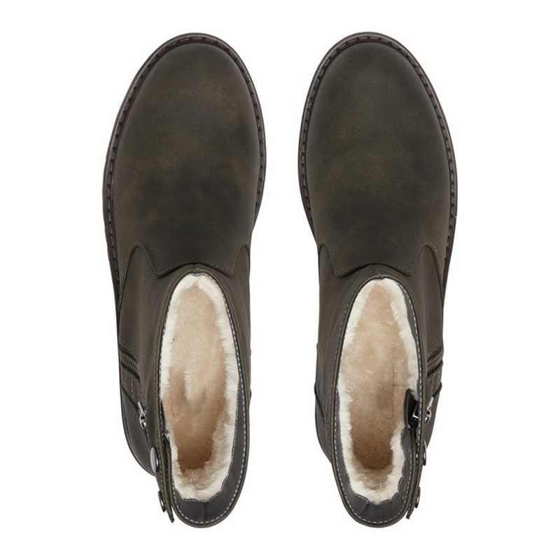 Echt Leer Winter Laarzen Sleehak Kidsuede Hoogte Verhoogde Chelsea Korte Laarzen Groene Korte 2019 Warme Laarzen Voor Vrouwen