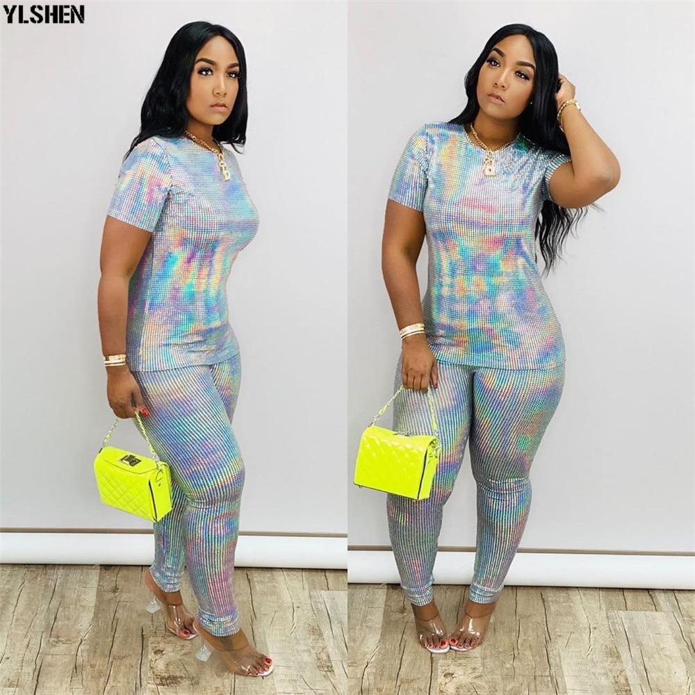 2 Two Piece Set Women African Clothes Dashiki Fashion Sequins Suit (Top And Pants) Super Elastic Party Plus Size Suits For Lady 01