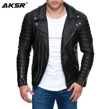 AKSR Jacket Men New Men's Fashion Casual Long Sleeved Motorcycle Fur Leather Jacket Slim Fit Mens Winter Coats PU Faux Leather