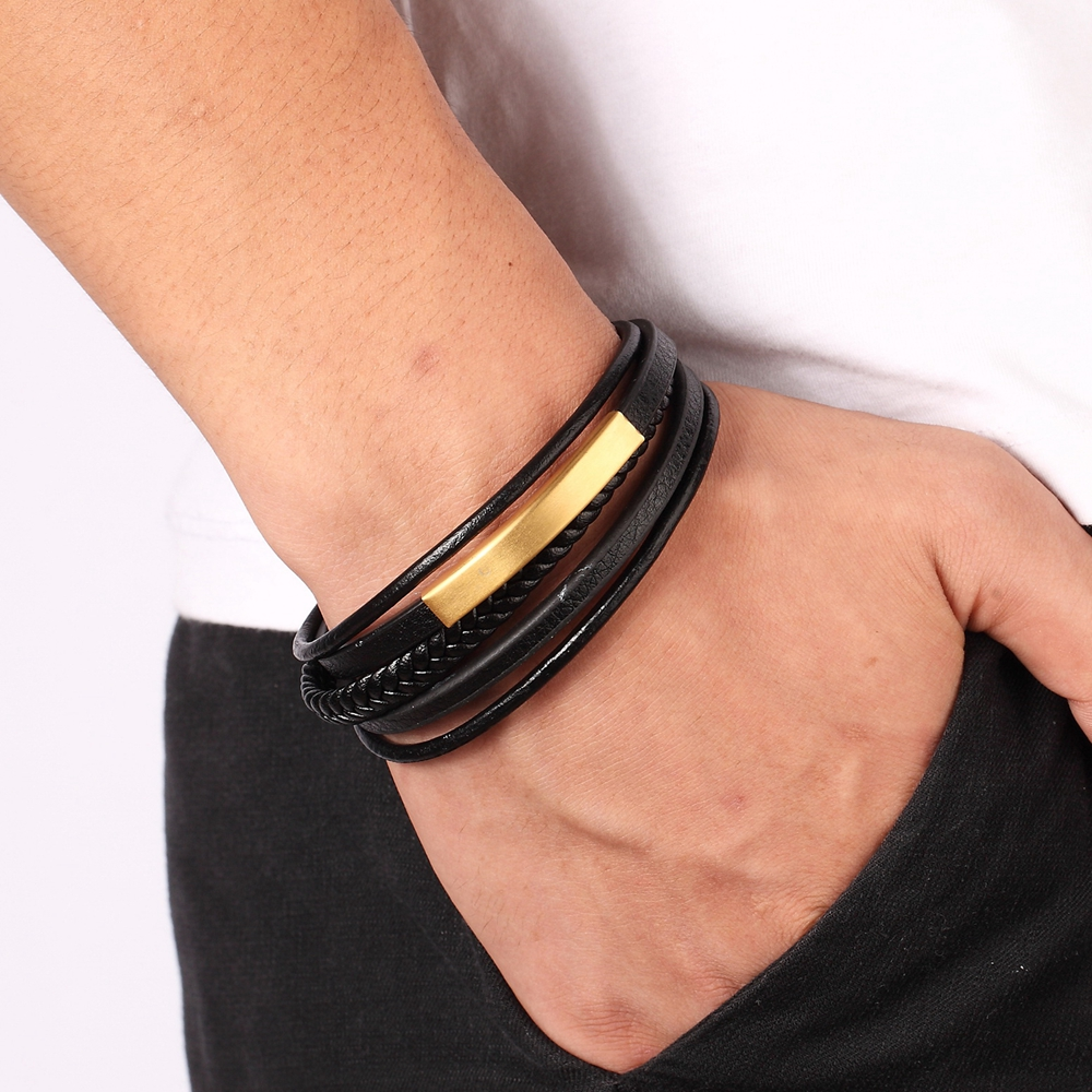 Multi-layer Hand-woven Gold Steel Black Men's Leather Stainless Steel Bracelet DIY Size Carved Logo For Surprise Birthday Gift