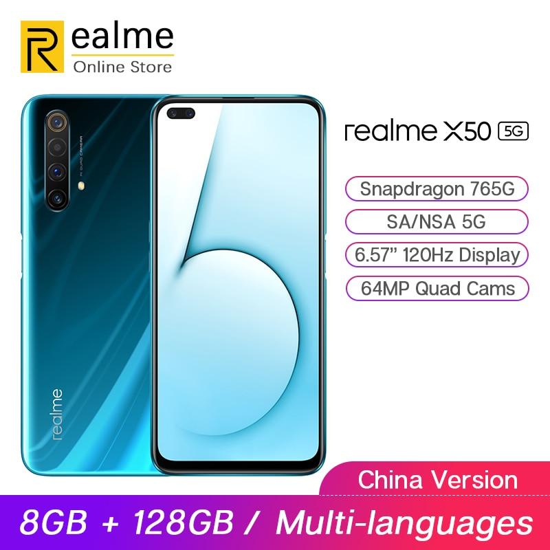 Realme X50 5G Handy Snapdragon 765G 8GB 128GB 6.4 ''120Hz Display 64MP Quad Cam OPPO VOOC 30W Schnelle Ladung NFC