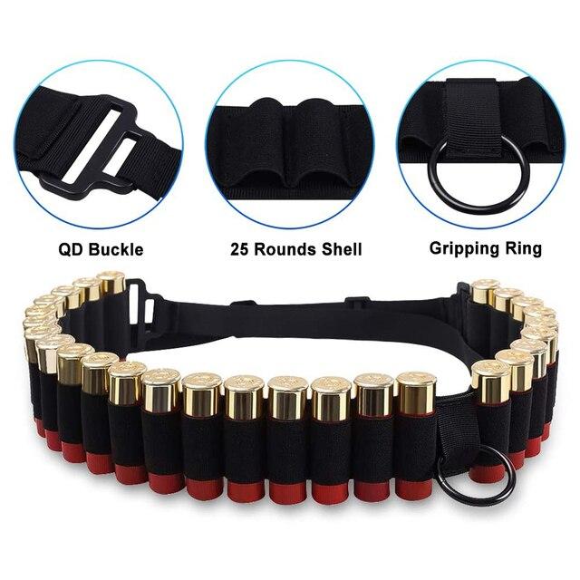 Tactical 25 Rounds Ammo Shell Holder Belt 12 Gauge Ammo Pouch Military Shotgun Cartridge Belt Waist Bullet Cartridges Holster 2